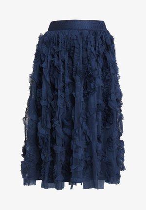 RUFFLE MIDI SKIRT - Falda acampanada - dark blue