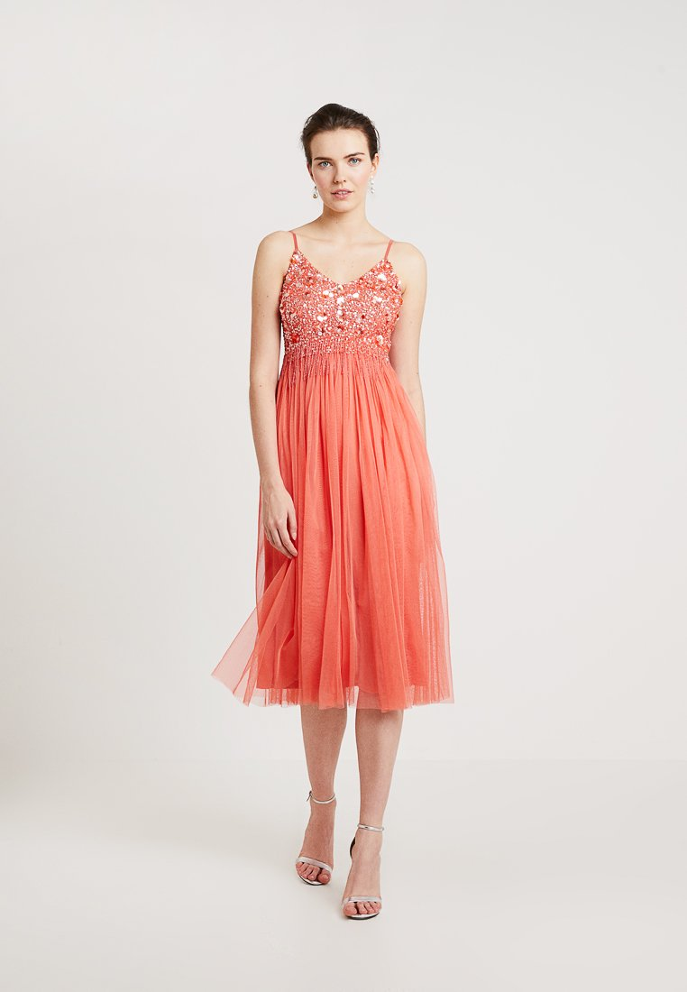 Lace & Beads - RIRI MIDI - Cocktail dress / Party dress - coral