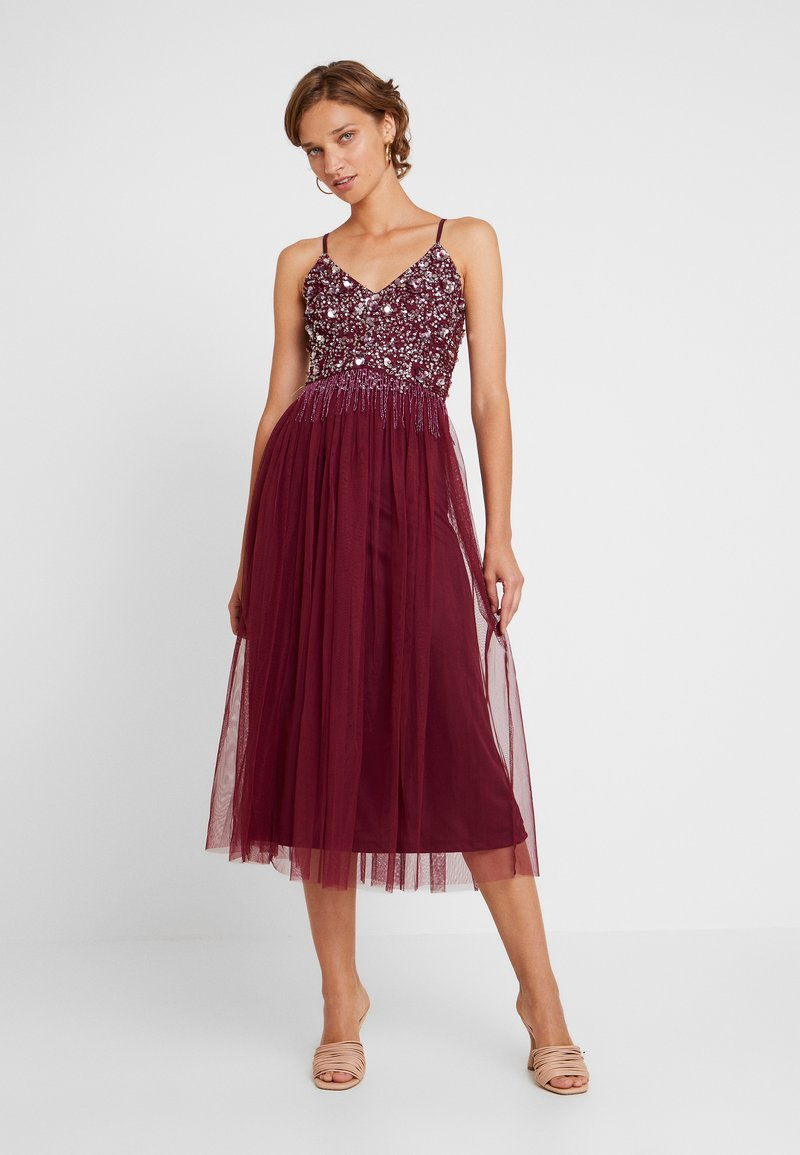 Lace & Beads - RIRI MIDI DRESS - Cocktailkleid/festliches Kleid - burgundy