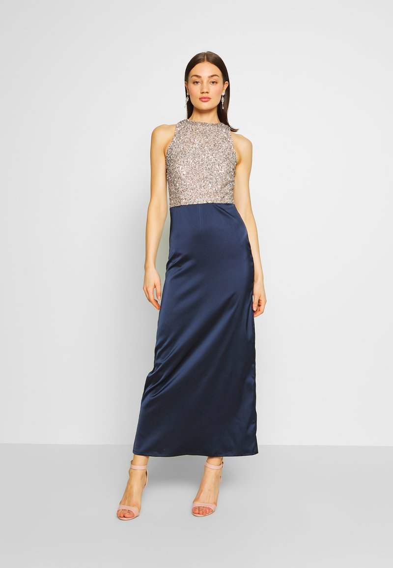 Lace & Beads - SAOIRSE MAXI - Vestido de fiesta - navy/nude/silver