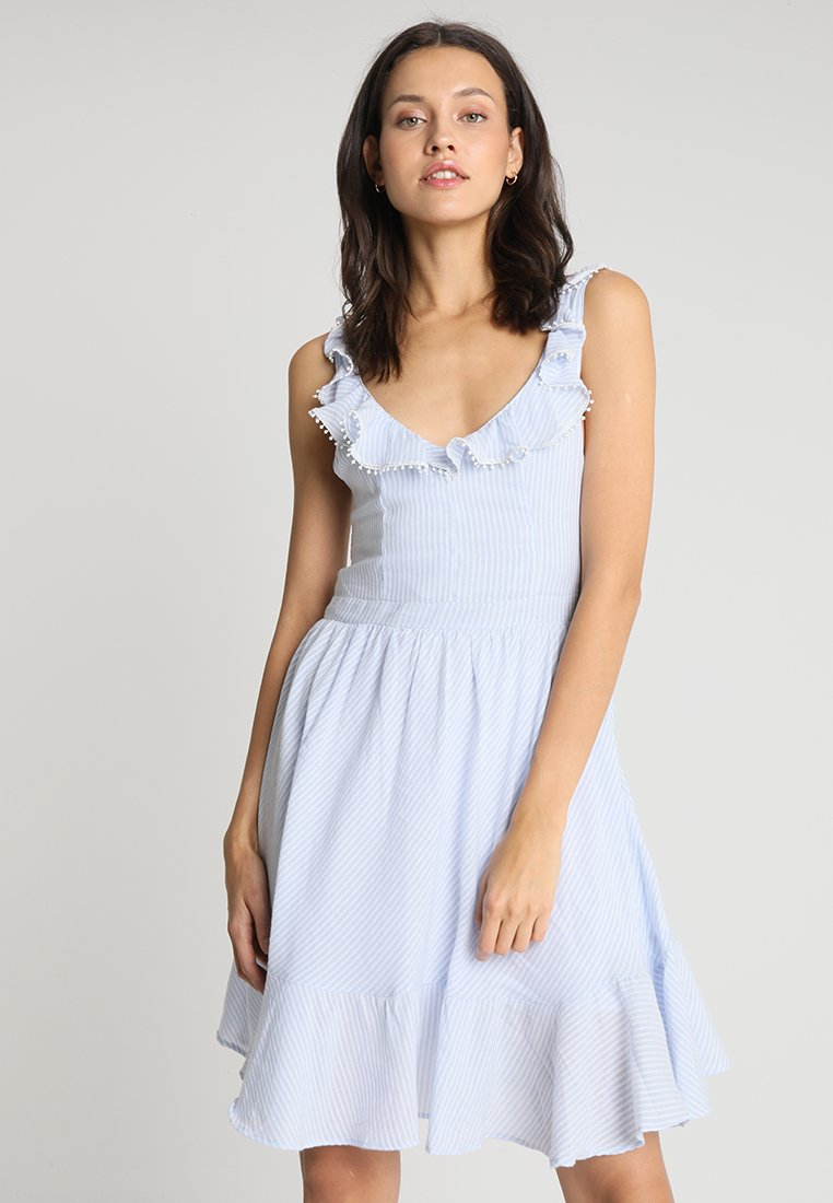 LTB - BIWELO DRESS - Freizeitkleid - light blue/white