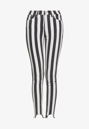TANYA - Skinny-Farkut - striped black wash