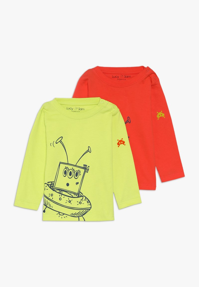 Lucy & Sam - ALIEN TEE BABY 2 PACK - Langarmshirt - lime/orange