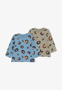 Lucy & Sam - TEES LEOPARD PRINT BABY 2 PACK - Long sleeved top - off white/light blue - 3