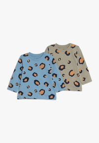 Lucy & Sam - TEES LEOPARD PRINT BABY 2 PACK - Langarmshirt - off white/light blue - 0