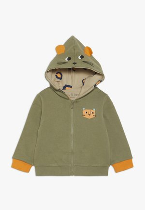 WELL SPOTTED ZIP HOODY LEOPARD LINING BABY  - Sudadera con cremallera - khaki/off white