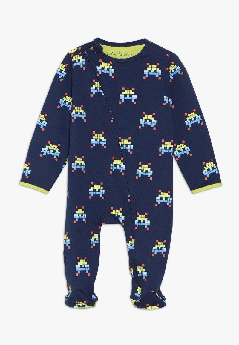 Lucy & Sam - SPACE INVADER ZIP BABYGROW - Pyjama - navy
