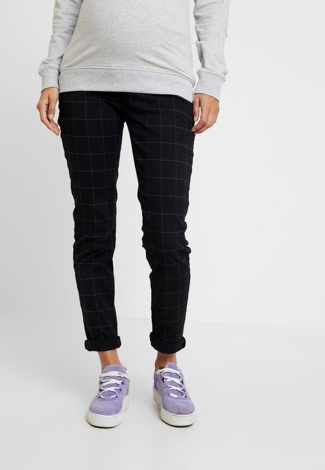 PANTS CHECK - Trousers - black