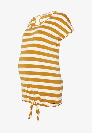 SHIRT STRIPED KNOT - Camiseta estampada - ocre