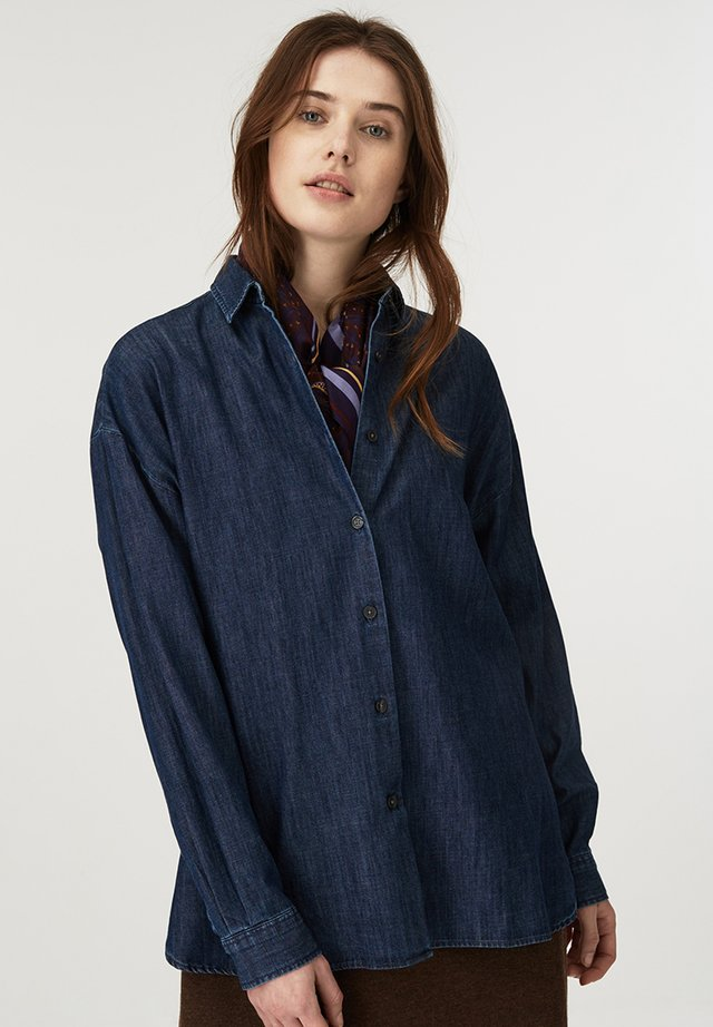 EDITH  - Button-down blouse - dark blue denim
