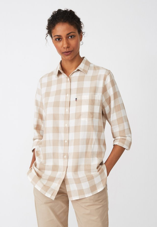 Button-down blouse - beige/white check
