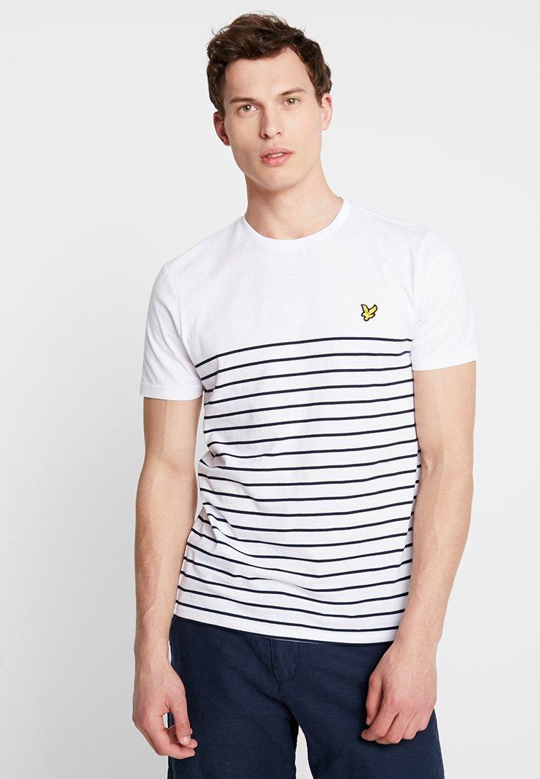 Lyle & Scott - BRETON STRIPE  - T-Shirt print - white/navy