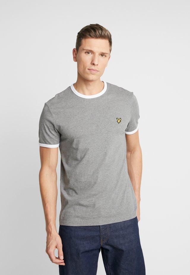 RINGER TEE - T-Shirt print - mid grey marl/white