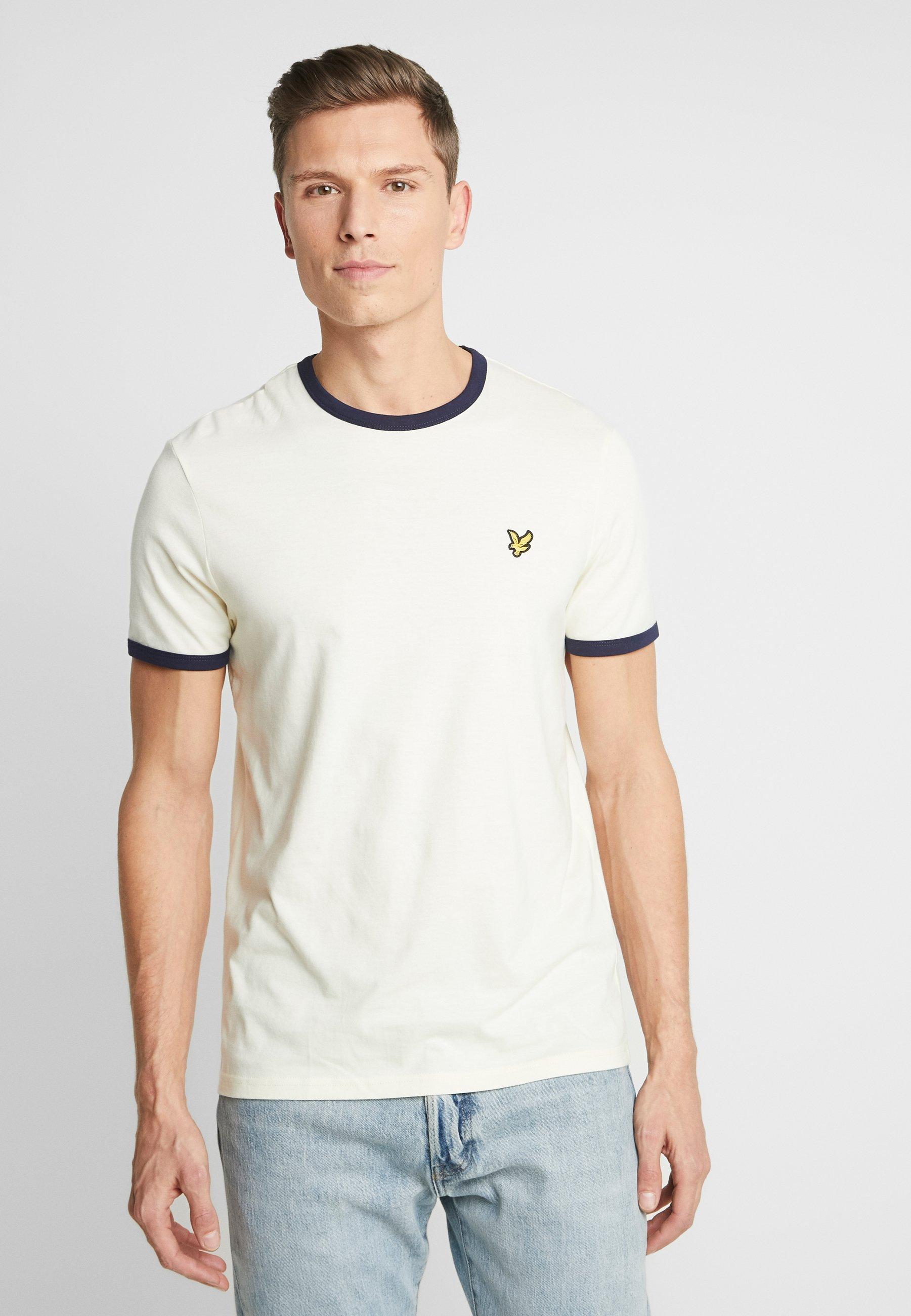 Lyle & Scott RINGER TEE - T-shirt z nadrukiem - buttercream/navy
