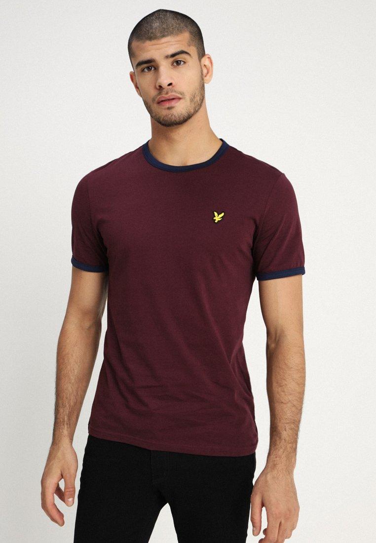 Lyle & Scott - RINGER TEE - T-Shirt print - burgundy/navy