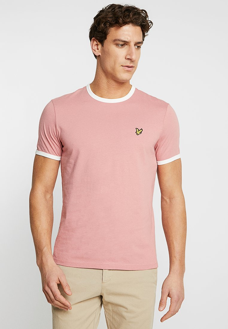 Lyle & Scott - RINGER TEE - T-Shirt print - pink shadow/snow white
