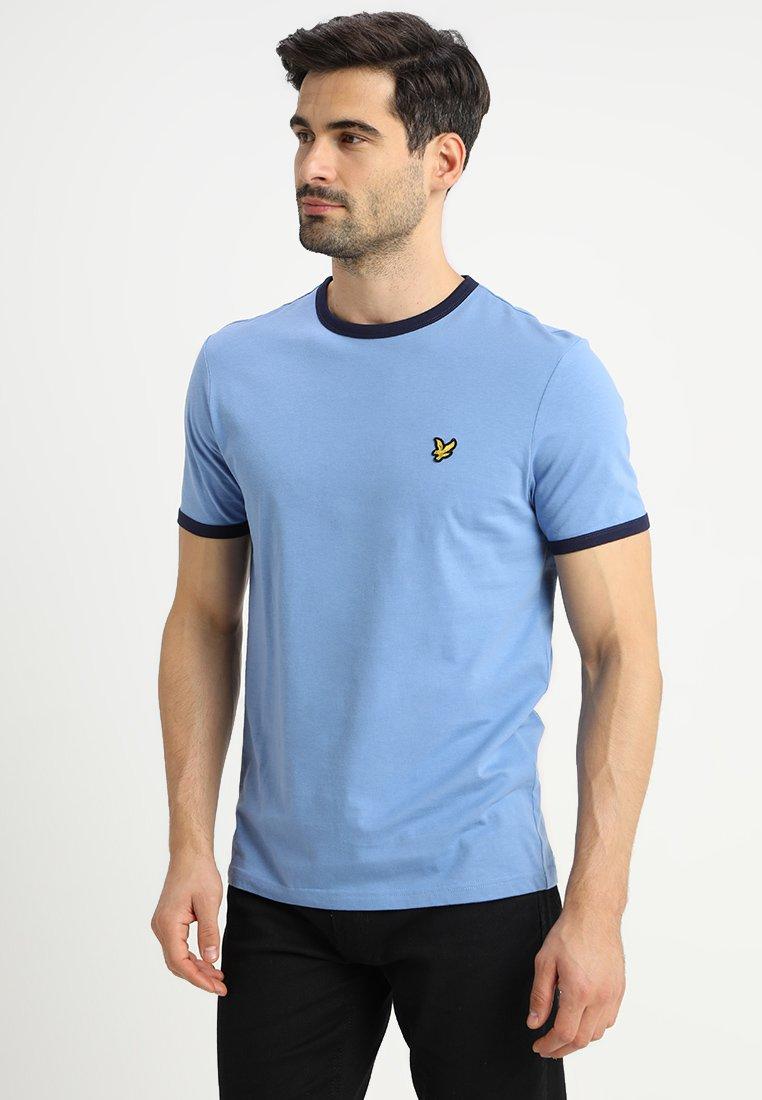 Lyle & Scott - RINGER TEE - T-Shirt print - cornflower blue/navy
