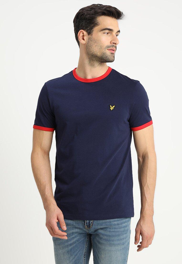 Lyle & Scott - RINGER TEE - T-Shirt print - navy/dark red