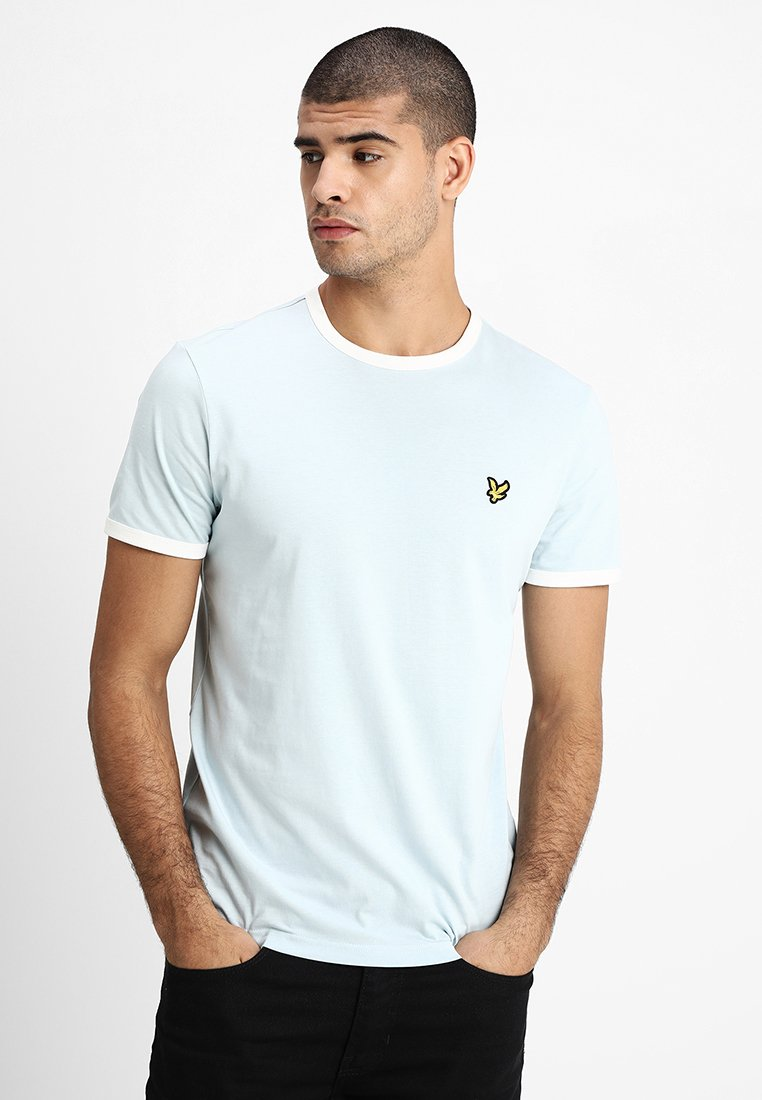 Lyle & Scott - RINGER TEE - T-Shirt print - blue shore/snow white