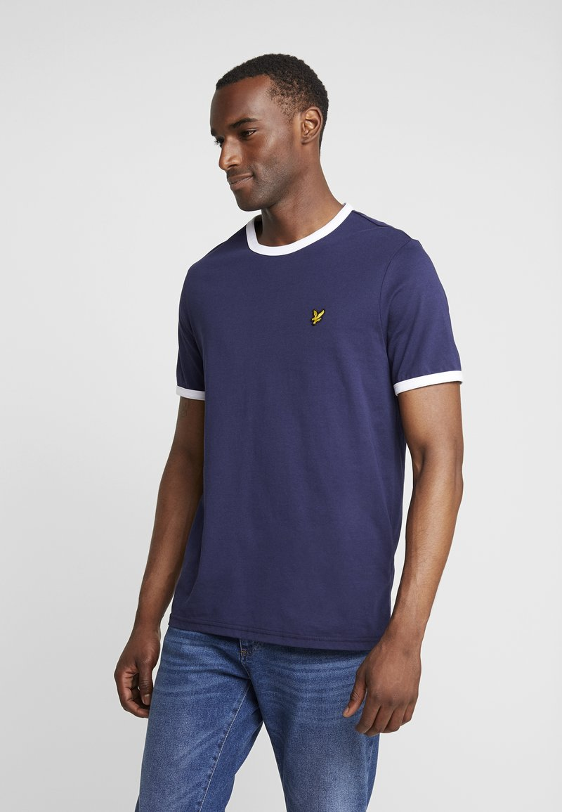 Lyle & Scott - RINGER TEE - T-shirts - navy/white