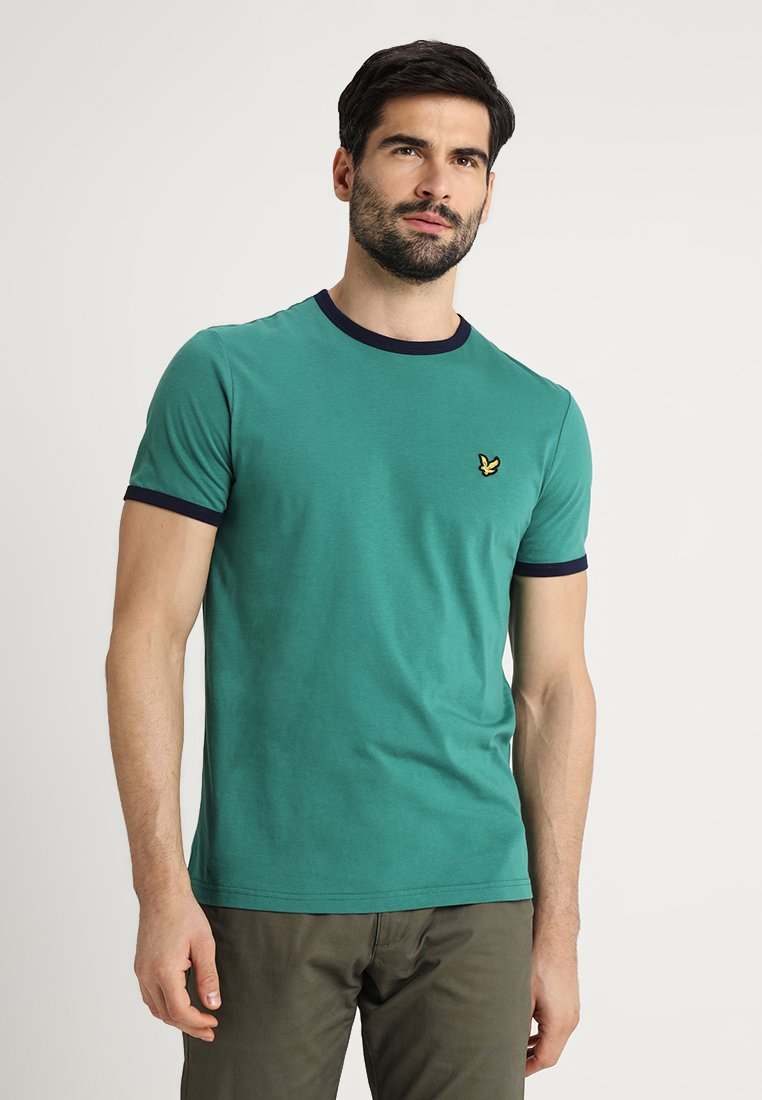 Lyle & Scott - RINGER TEE - T-Shirt print - alpine green/navy