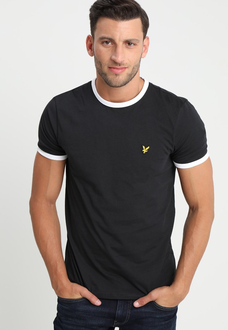 Lyle & Scott - RINGER TEE - T-shirt z nadrukiem - true black/white