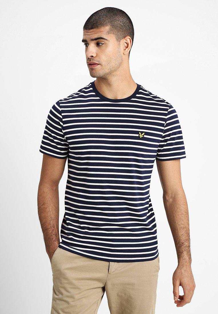 Lyle & Scott - BRETON STRIPE  - T-shirt imprimé - navy/snow white
