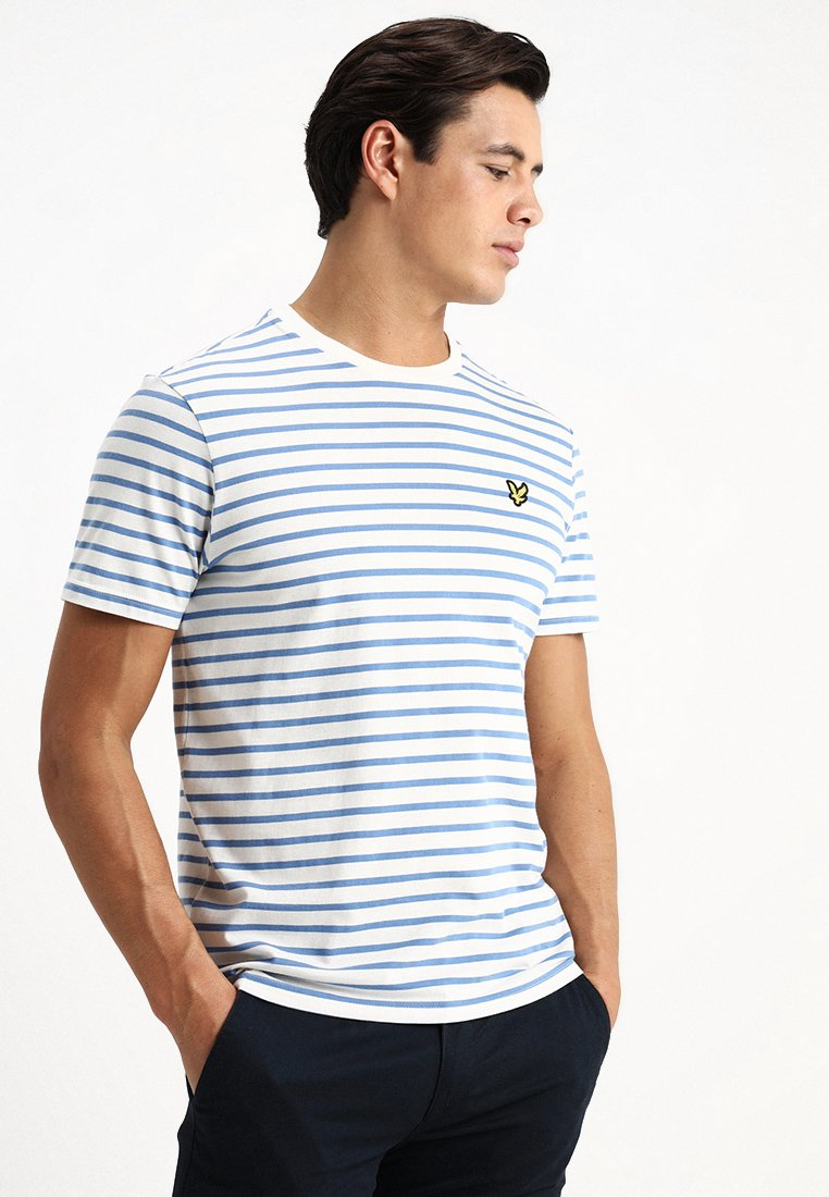 Lyle & Scott - BRETON STRIPE  - T-shirt imprimé - snow white/cornflower blue
