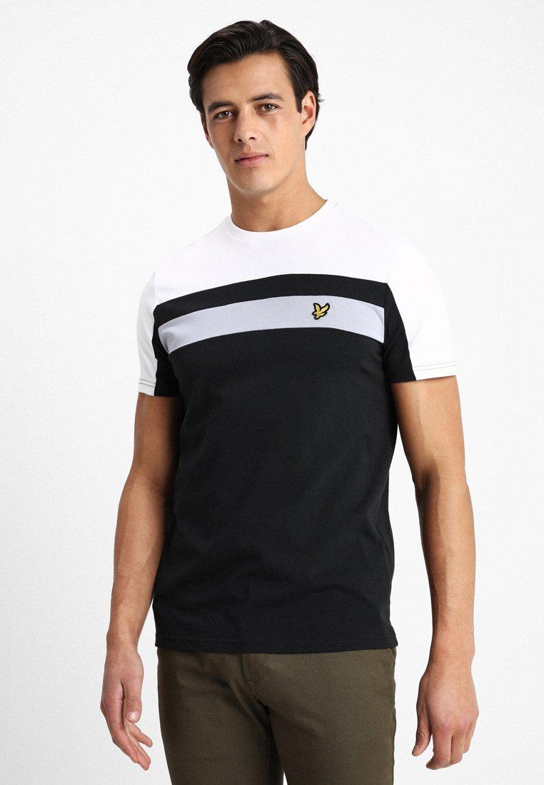 Lyle & Scott - COLOUR BLOCK - T-shirt med print - true black