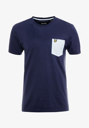 CONTRAST POCKET - T-shirt print - navy/pool blue