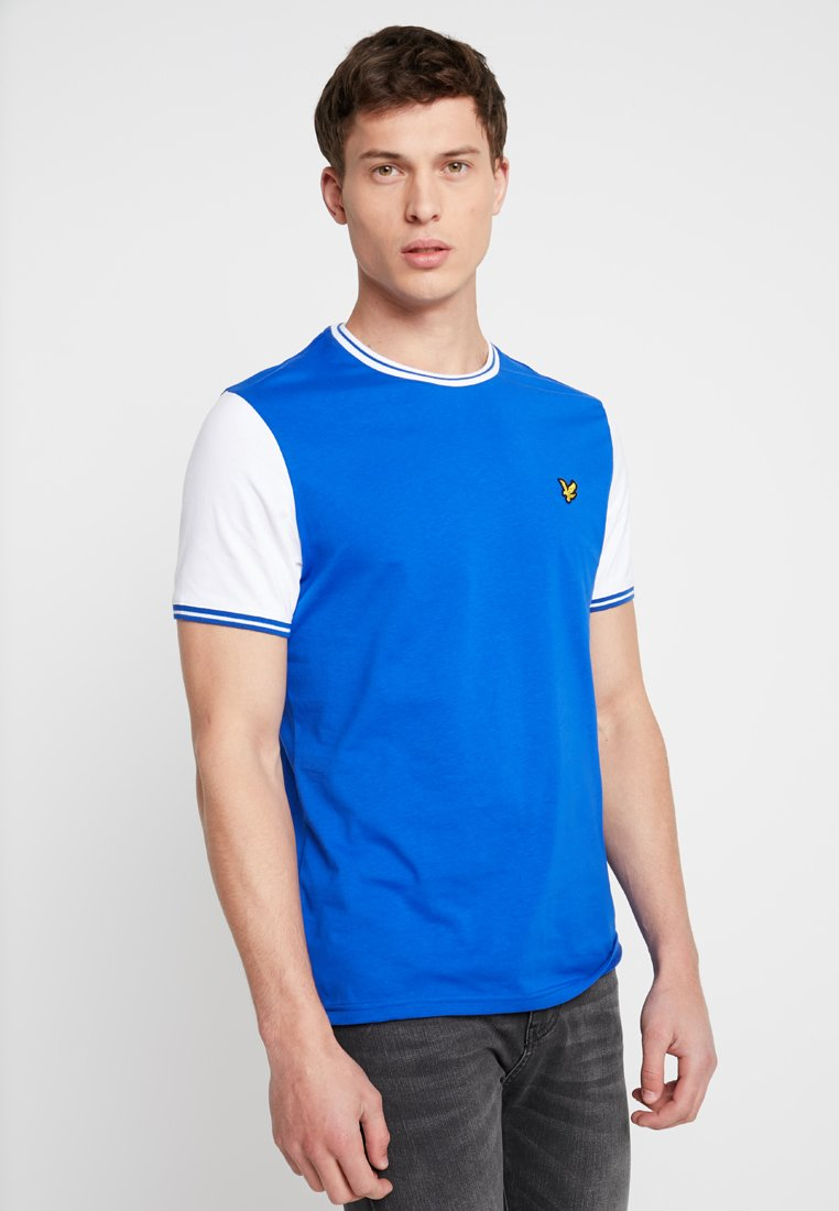 Lyle & Scott - TIPPED - Print T-shirt - duke blue/white