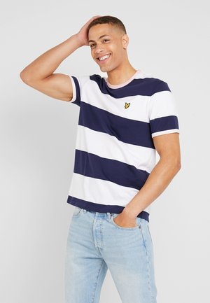WIDE STRIPE RINGER - T-shirt med print - navy