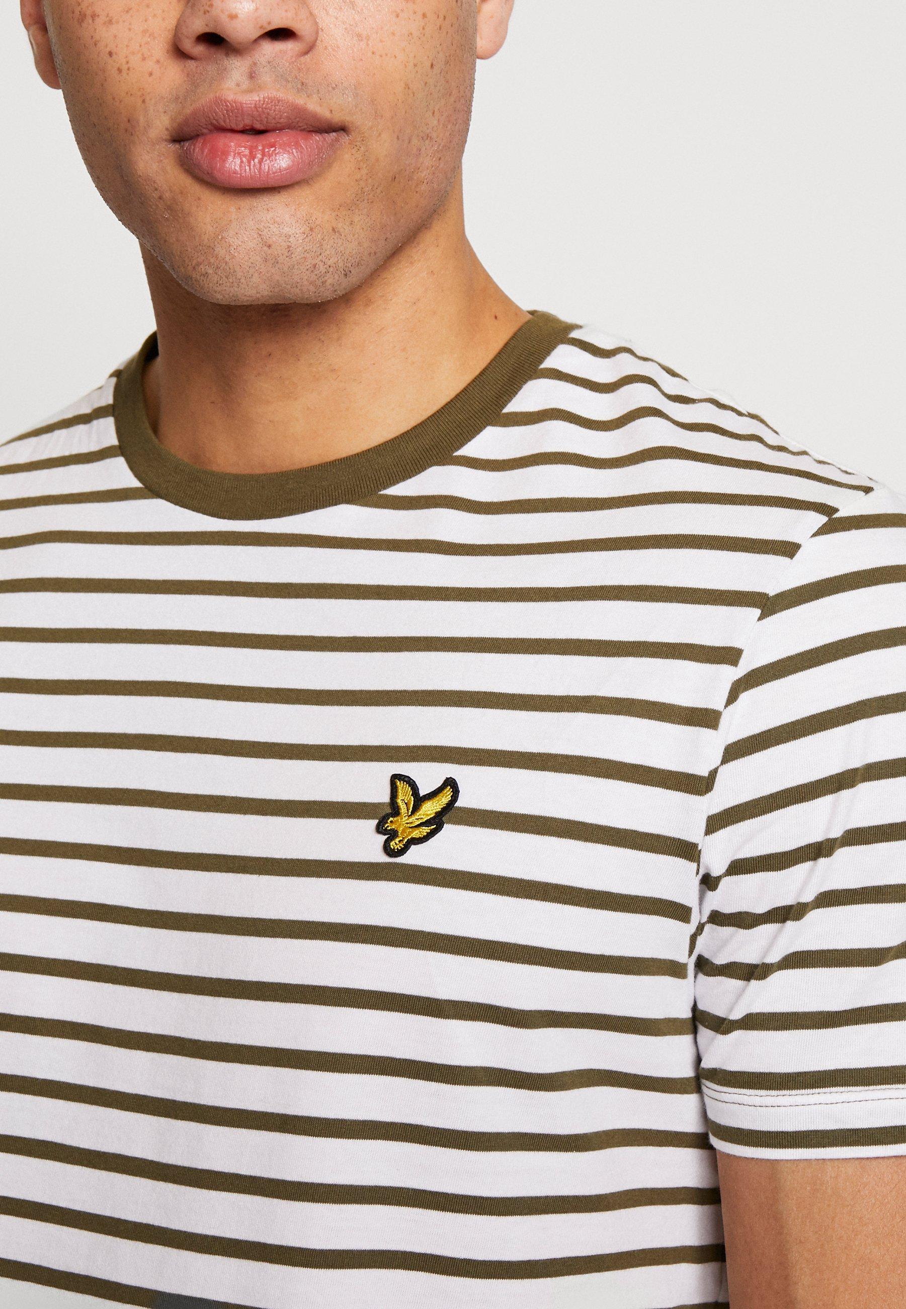 Lyle & Scott Breton Stripe - T-shirt Con Stampa Lichen Green/ White GFvzj