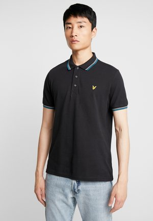 TIPPED - Poloshirt - true black/petrol teal