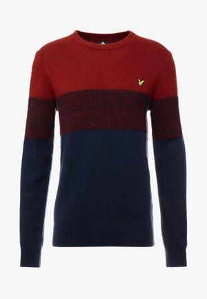 CHEST PANEL JUMPER - Pullover - dark navy/brick red