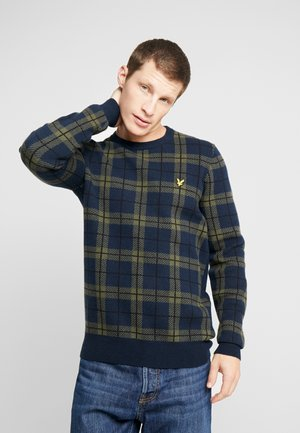 CHECK JUMPER - Svetr - dark navy/olive