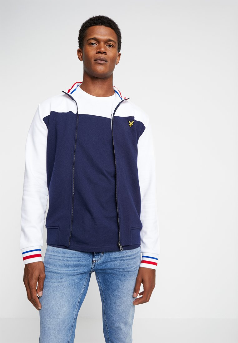Lyle & Scott - TIPPED FUNNEL NECK - veste en sweat zippée - navy