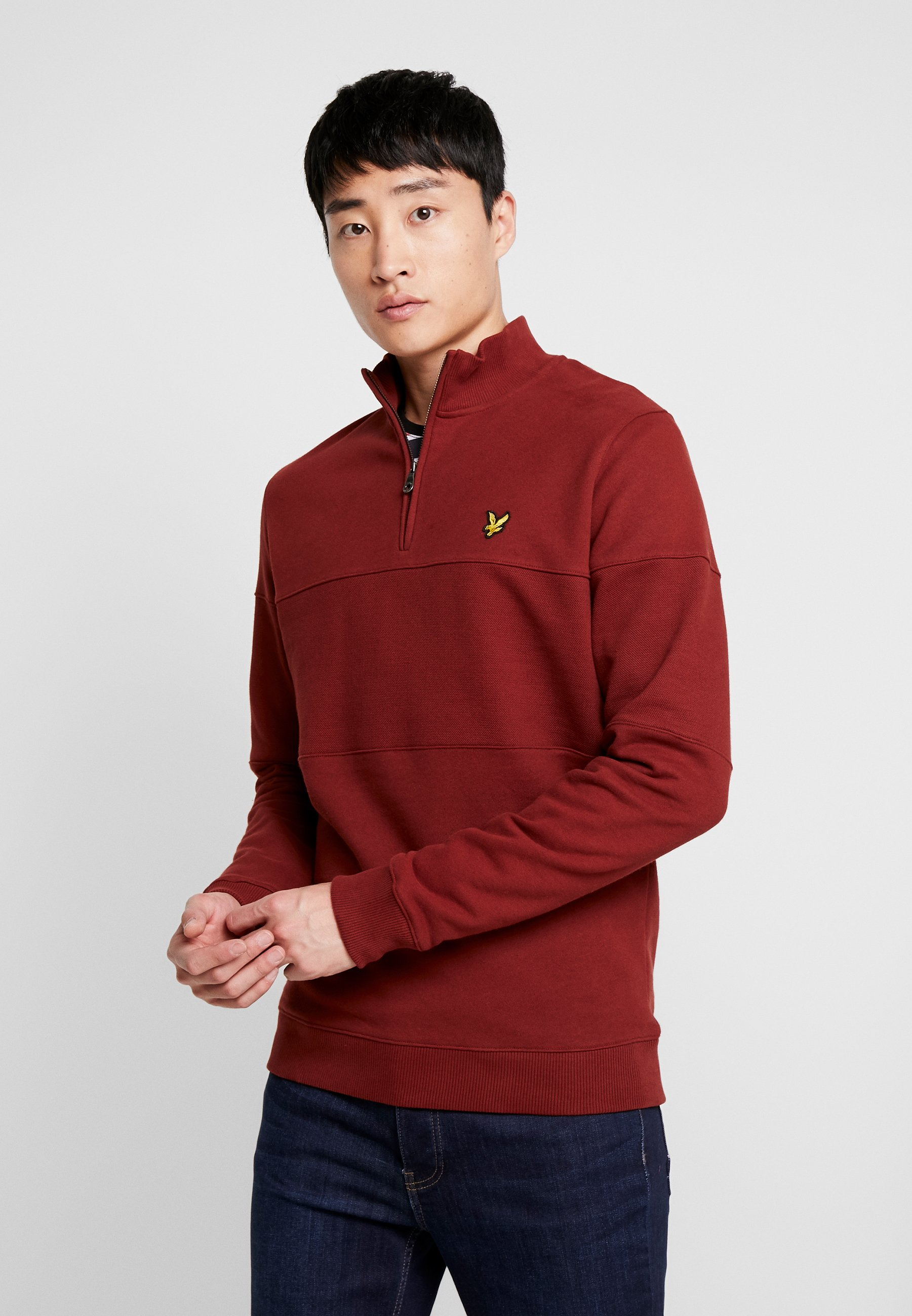 Lyle & Scott CONTRAST PANEL FUNNEL NECK - Bluza - brick red