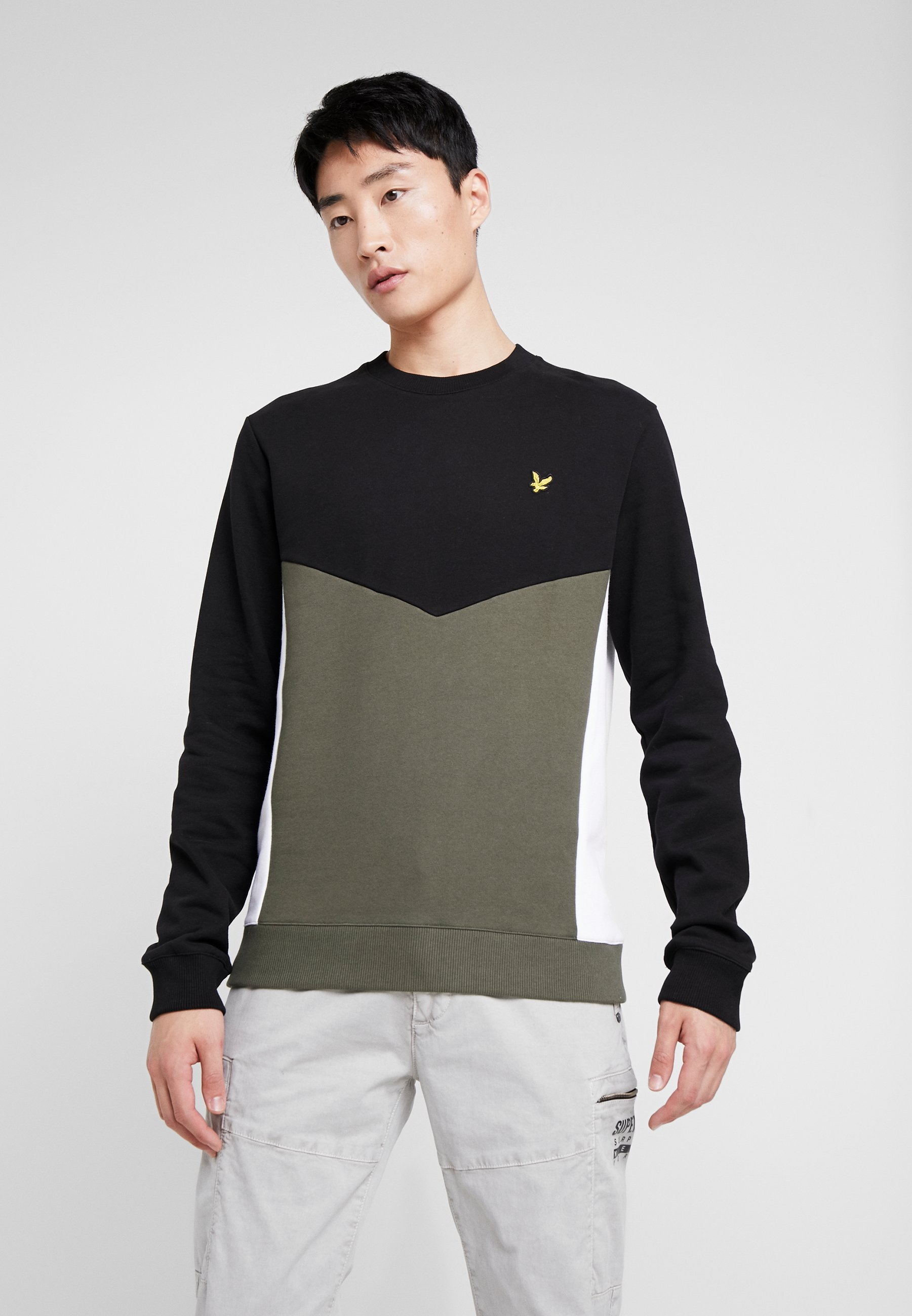 Lyle & Scott MULTI PANEL - Bluza - true black/ olive