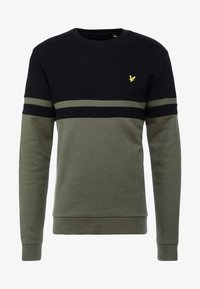 Lyle & Scott - PANEL STRIPE CREW NECK JUMPER - Sweater - true black/olive - 3