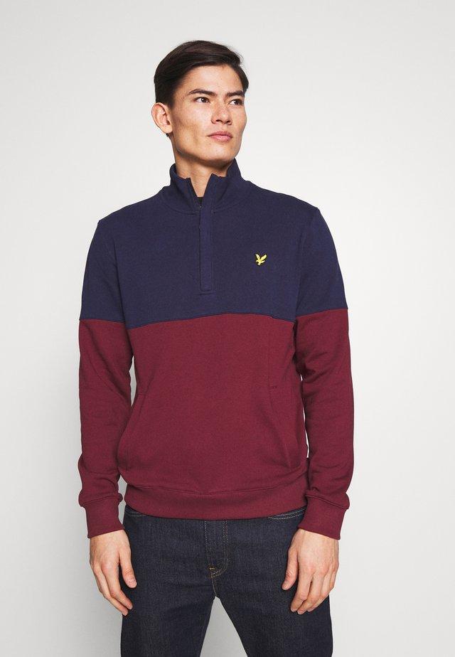 SPLIT FUNNEL NECK - Sweater - merlot/navy