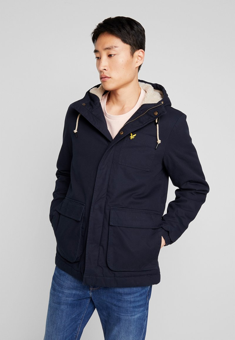 Lyle & Scott - WADDED JACKET WITH FAUX SHEEPSKIN - Overgangsjakker - dark navy