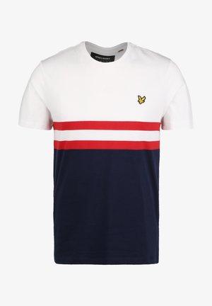 YOKE STRIPE T-SHIRT - Print T-shirt - white / navy