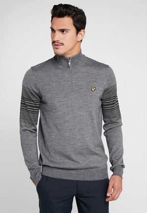 GOLF STRIPE QUARTER ZIP - Strickpullover - mid grey marl/deep spruce