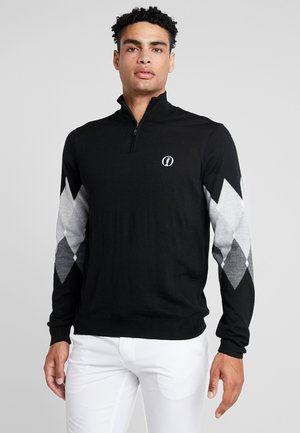 THE OPEN RETRO 1/4 ZIP ARGLE  - Neule - true black/graphite