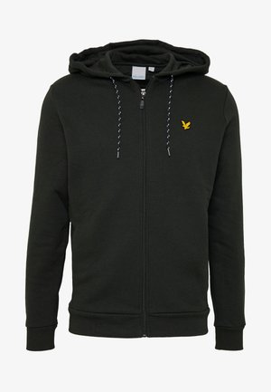 HOODED FULL ZIP MIDLAYER - Huvtröja med dragkedja - deep spruce marl