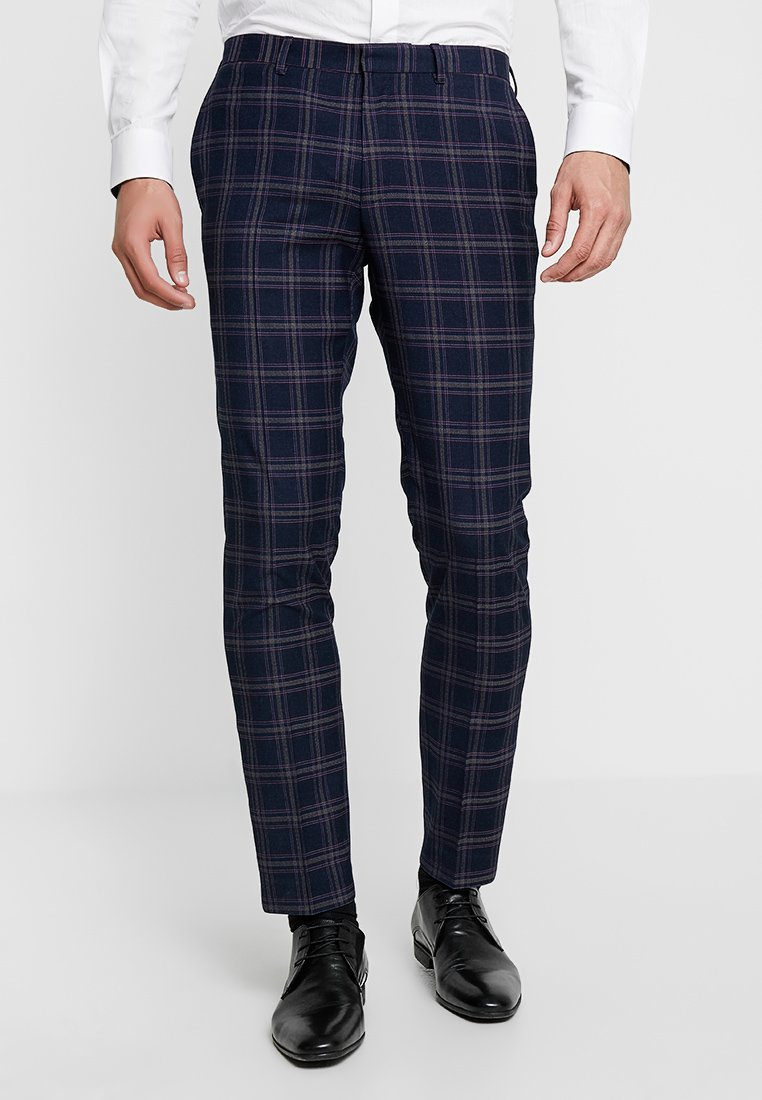 Burton Menswear London - TARTAN TROUSERS - Suit trousers - navy