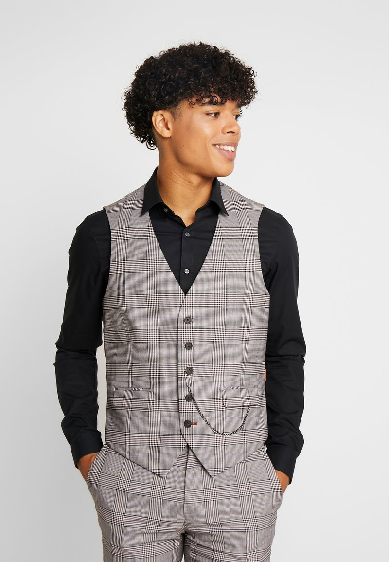 Burton Menswear London - RETRO CHECK - Gilet elegante - grey