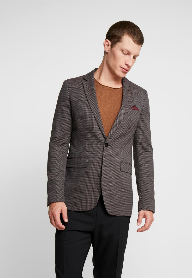 Burton Menswear London - HOUNDSTOOTH  - Suit jacket - burgundy