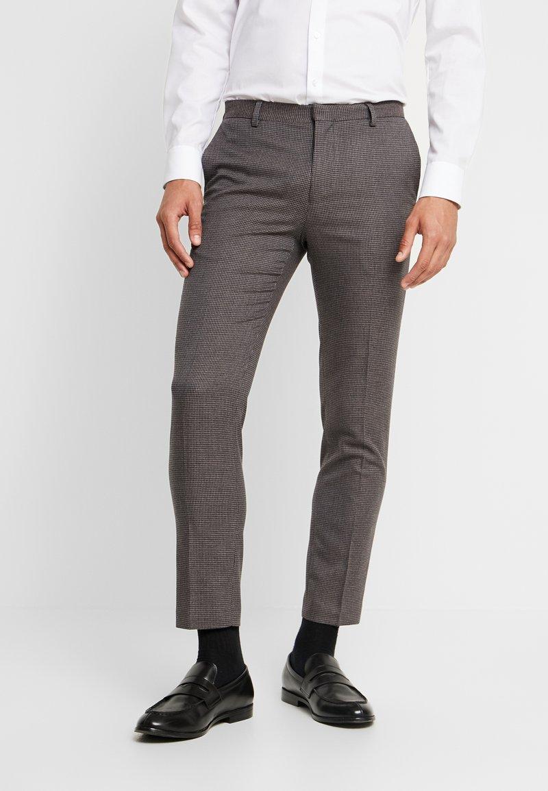 Burton Menswear London - BURG HOUNDTOOTH - Dressbukse - burgundy
